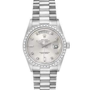 Rolex Silver Diamonds 18K White Gold President Day-Date 18049 Men's Wristwatch 36 MM