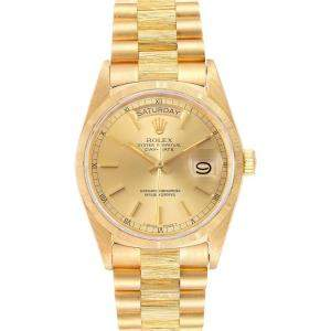 Rolex Champagne 18K Yellow Gold President Day-Date 18078 Men's Wristwatch 36 MM