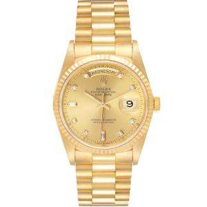 Rolex Champagne 18K Yellow Gold Diamond President 18238 Day-Date Men's Wristwatch 36MM