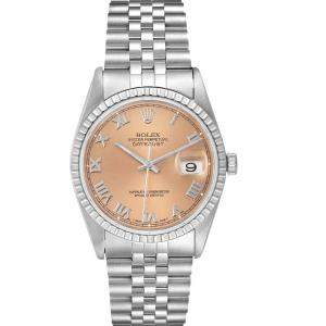 Rolex Salmon Stainless Steel Datejust 16220 Men's Wristwatch 36MM