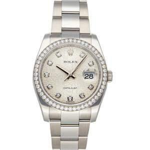 Rolex Silver Diamonds Stainless Steel Datejust 116244 Men's Wristwatch 36 MM