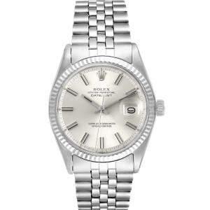 Rolex Silver 18K White Gold Datejust Stainless Steel 1601 Men's Wristwatch 36MM