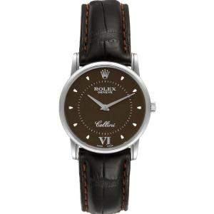 Rolex Brown 18K White Gold Cellini Classic 5116 Men's Wristwatch 31.8x5.5MM