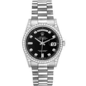 Rolex Black 18K White Gold Diamond President Day-Date 118339 Men's Wristwatch 36MM