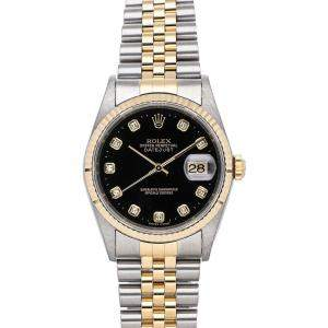 Rolex Black Diamonds 18K Yellow Gold And Stainless Steel Datejust 16233 Men's Wristwatch 36 MM