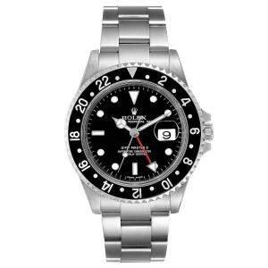 Rolex Black Stainless Steel GMT Master II 16710 Men's Wristwatch 40 MM