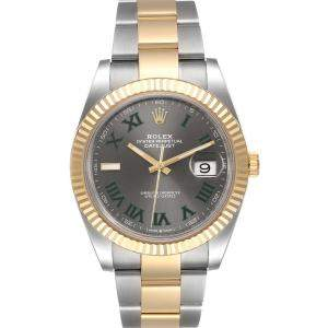 Rolex Grey Stainless Steel 18K Yellow Gold Datejust 126333 Men's Wristwatch 41MM