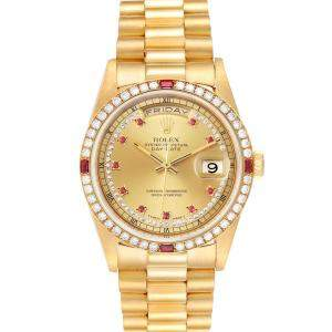 Rolex Champagne Diamonds And Ruby 18K Yellow Gold President Day-Date 18238 Men's Wristwatch 36 MM