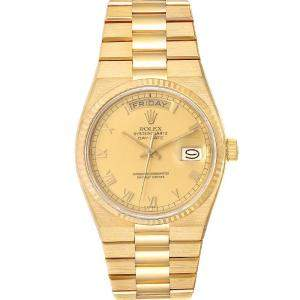 Rolex Champagne 18K Yellow Gold Oysterquartz President Day-Date 19018 Men's Wristwatch 36 MM