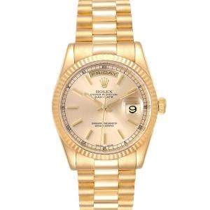 Rolex Champagne 18K Yellow Gold President Day Date 118238 Men's Wristwatch 36 MM