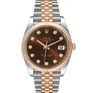 Rolex Brown Diamonds 18K Rose Gold And Stainless Steel Datejust 126331 Men's Wristwatch 41 MM