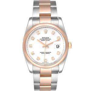 Rolex White Diamonds 18K Rose Gold And Stainless Steel Datejust 116201 Men's Wristwatch 36 MM