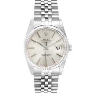 ساعة يد رجالية رولكس ديت جست 16014 ستانلس ستيل وذهب أبيض عيار 18 فضية 36مم