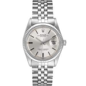 Rolex Silver 18K White Gold And Stainelss Steel Datejust 1601 Men's Wristwatch 36 MM