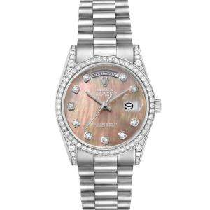 Rolex Blacktaihian MOP Diamonds 18K White Gold President Day-Date 118339 Men's Wristwatch 36 MM