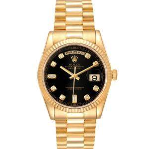 Rolex Black Diamonds 18K Yellow Gold President Day Date 118238 Men's Wristwatch 36 MM