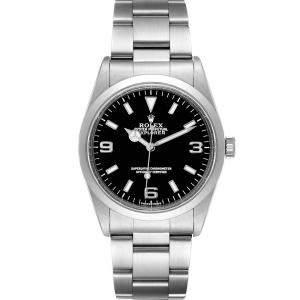Rolex Black Stainless Steel Explorer 14270 Men's Wristwatch 36 MM