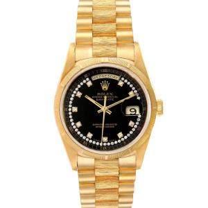 Rolex Black Diamonds 18K Yellow Gold President Day Date 18248 Men's Wristwatch 36 MM