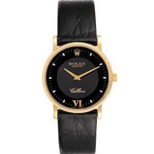 Rolex Black 18k Yellow Gold Cellini Classic 5115 Men's Wristwatch 32 MM