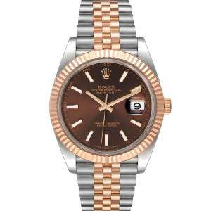 Rolex Brown 18K Rose Gold And Stainless Steel Datejust 126331 Men's Wristwatch 41 MM