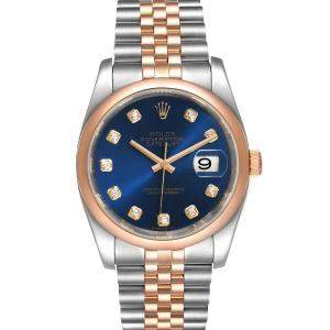 Rolex Blue Diamonds 18K Rose Gold And Stainless Steel Datejust 116201 Men's Wristwatch 36 MM