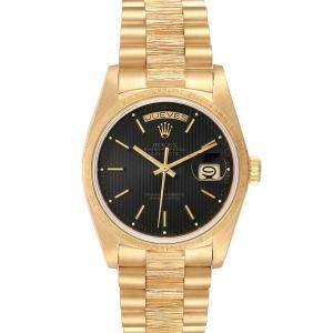 Rolex Black 18K Yellow Gold President Day-Date 18078 Men's Wristwatch 36 MM