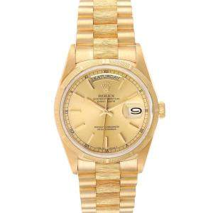 Rolex Champagne 18K Yellow Gold Day-Date President 18248 Men's Wristwatch 36 MM