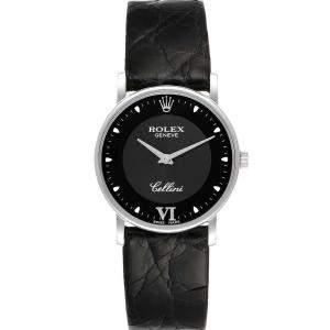ساعة يد رجالية سيليني كلاسيك 5115 ذهب أبيض عيار 18 سوداء 32 مم