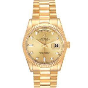 Rolex Champagne Diamonds 18K Yellow Gold President Day-Date 118238 Men's Wristwatch 36 MM