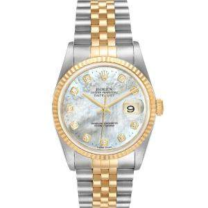 Rolex MOP Diamonds 18K Yellow Gold And Stainless Steel Datejust 16233 Men's Wristwatch 36 MM