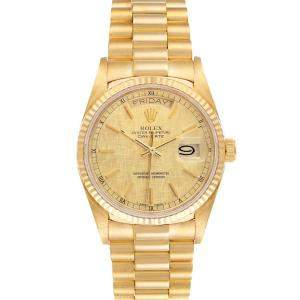Rolex Champagne 18K Yellow Gold President Day-Date 18038 Men's Wristwatch 36 MM