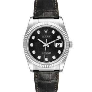 Rolex Black Diamonds 18k White Gold Datejust 116139 Men's Wristwatch 36 MM