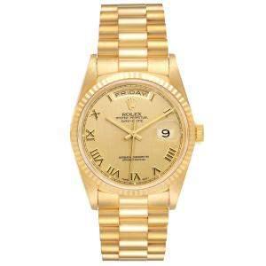 ساعة يد رجالية رولكس بريزيدنت داي ديت 18238  ذهب أصفر عيار 18 شامبانيا 36 مم