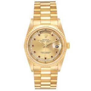 ساعة يد رجالية رولكس بريزيدنت داي ديت 18238 ذهب أصفر عيار 18 ياقوت وألماس شامبانيا 36 مم