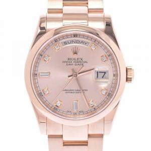 Rolex Salmon Diamonds 18K Rose Gold Day-Date 118205A Automatic Men's Wristwatch 36 MM