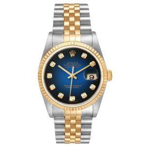 Rolex Blue Diamonds 18K Yellow Gold And Stainless Steel Datejust 16233 Men's Wristwatch 36 MM