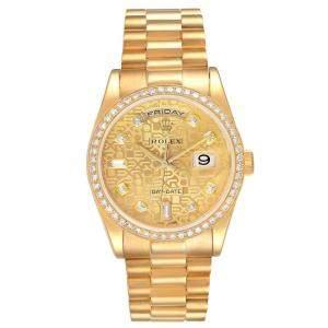 Rolex Champagne Diamonds 18K Yellow Gold President Day Date 118348 Men's Wristwatch 36 MM
