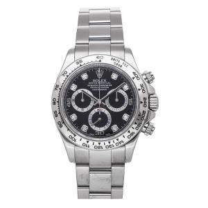 Rolex Black Diamonds 18K White Gold Cosmograph Daytona 116509 Men's Wristwatch 40 MM