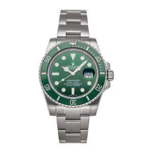 "Rolex Green Stainless Steel Submariner Date ""Hulk"" 116610LV Men's Wristwatch 40 MM"