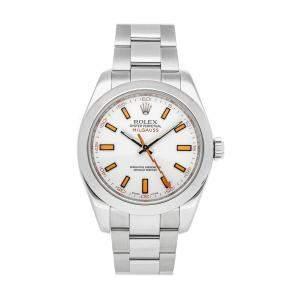 Rolex White Stainless Steel Milgauss 116400 Men's Wristwatch 40 MM