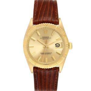 Rolex Champagne 18K Yellow Gold Datejust Turnograph Vintage 6609 Men's Wristwatch 34 MM