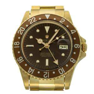 Rolex Brown 18K Yellow Gold GMT Master 16758 Men's Wristwatch 40 MM