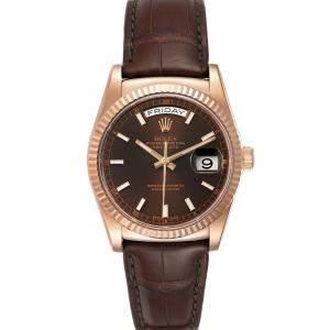 Rolex Brown 18K Rose Gold President Day-Date 118135 Men's Wristwatch 36 MM
