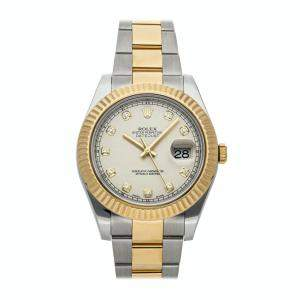 Rolex Ivory Diamonds 18K Yellow Gold And Stainless Steel Datejust 116333 Men's Wristwatch 41 MM