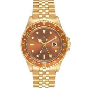 Rolex Brown 18K Yellow Gold GMT Master Rootbeer 16718 Men's Wristwatch 40 MM