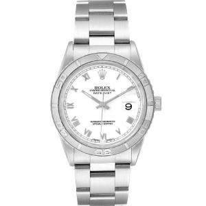 Rolex White 18K White Gold And Stainless Steel Turnograph Datejust 16264 Men's Wristwatch 36 MM