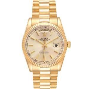 ساعة يد رجالية رولكس بريزيدينت داي دايت 118238 ذهب أصفر عيار 18 شامبانيا 36 مم