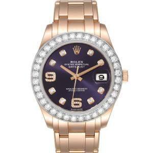 Rolex Purple Diamonds 18K Rose Gold Pearlmaster 18948 Men's Wristwatch 39 MM