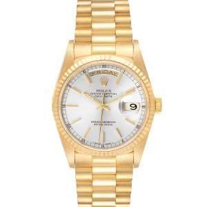 ساعة يد رجالية رولكس بريزيدينت داي-دايت 18238 ذهب أصفر عيار 18 فضية 36 مم