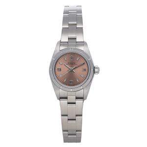 Rolex Salmon Stainless Steel Oyster Perpetual 76030 Men's Wristwatch 26 MM